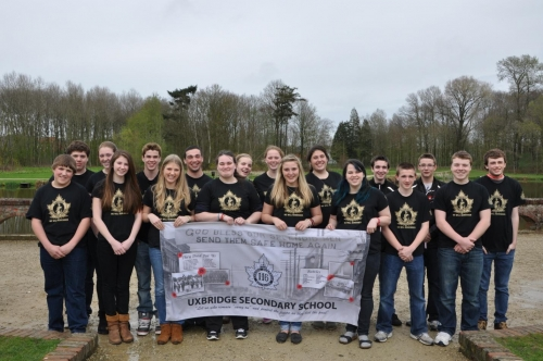 Uxbridge Secondary students on the grounds of the Battle of Passchendaele, April 2012.