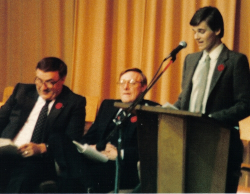 Andy Pateman - 1982 commencement valedictorian; middle - Principal Dave Brown; far left - Ray Newton (?)
