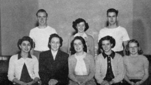 (Click to Magnify - marginal quality original) . Front row left to right - Ruby Hockley, Mrs McGowan, Barbara Acton, Dor